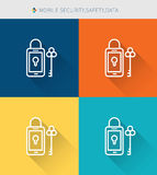 Thin thin line icons set of mobile security & data , modern simple style Royalty Free Stock Image
