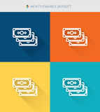 Thin thin line icons set of money & finance and budget and budget, modern simple style Stock Images