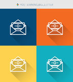 Thin thin line icons set of post earning & bill & letter, modern simple style Stock Photo