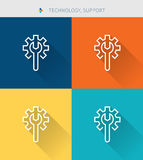 Thin thin line icons set of technology and support , modern simple style. ! Stock Photography