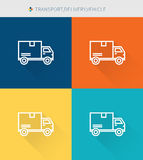 Thin thin line icons set of transport&delivery and vehicle, modern simple style Royalty Free Stock Photography
