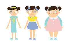 From thin to fat kid. Children obesity and anorexia. Funny smiling cartoon girls on white background. Girl getting fat, gaining weight, getting thin, loosing Stock Image