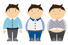 From thin to fat kid. Children obesity. Funny smiling cartoon boys on white background. Boy getting fat, gaining weight Royalty Free Stock Photo