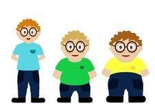 From thin to fat kid. Children obesity. Funny cartoon boys on white background. Boy getting fat, gaining weight Stock Photography