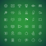 Thin Vector Icons on the Theme of Soccer Royalty Free Stock Images