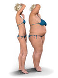 Thin versus Fat. Thin girl alongside fat girl against a white background. Photorealistic 3D render Stock Image