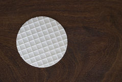 Thin waffles. On wooden background Royalty Free Stock Images