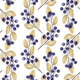 Seamless pattern with watercolor illustrations of blueberries branches vector illustration