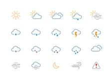 Thin weather colour icon set. Set of 20 thin and clean outline weather icons for web or mobile use on white background Vector Illustration