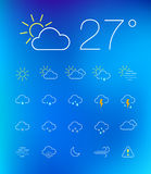 Thin weather icon set Stock Image