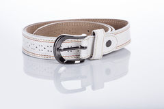 Thin white female belt buckle with fine Royalty Free Stock Photo