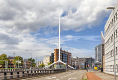 Thin white steeple on one of the crossroads of Eindhoven Stock Image