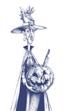 Thin witch holding carved pumpkin jack lantern Stock Photo