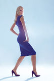 Thin woman. Elegant woman on the blue background Royalty Free Stock Photos