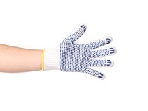 Thin work glove with blue pimple. Royalty Free Stock Image