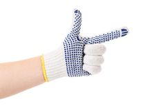 Thin work glove with blue pimple. Stock Image