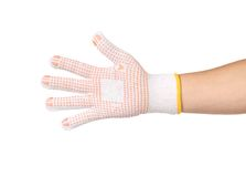 Thin work glove with red pimple. Stock Photo