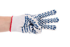 Thin work gloves shows three fingers. Royalty Free Stock Image