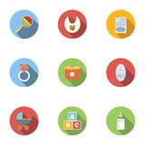 Things for baby icons set, flat style. Things for baby icons set. Flat illustration of 9 things for baby vector icons for web Stock Images
