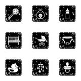 Things for baby icons set, grunge style. Things for baby icons set. Grunge illustration of 9 things for baby vector icons for web Stock Image