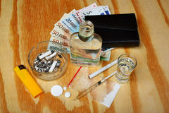 Things bandit criminal drug, boosters dealer euro money on the table Stock Image