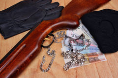Things bandit and stolen loot by thieves Stock Photos