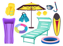 Things for the beach. Items for summer vacation, vector illustration Royalty Free Stock Photos