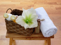 Things for body care in basket and towel Royalty Free Stock Photography