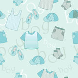 Things for boys. Blue fine things for little boys stock illustration