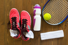 Things are on the floor for tennis Stock Image
