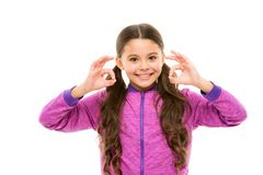 Things gonna be alright. Girl child happy face while show ok gesture white background. Kid satisfied with everything. Everything is ok or fine. Alright concept royalty free stock photography