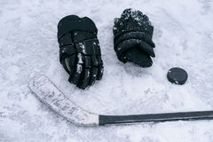 Things are a hockey player on the ice Stock Photography