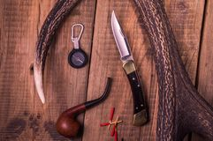 Things hunter. Accessories and tools of the hunter. royalty free stock image