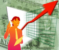 Things are looking up. A business woman perhaps giving a presentation announcing profits are up and growth is looking good vector illustration