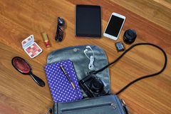 Things in my bag royalty free stock images
