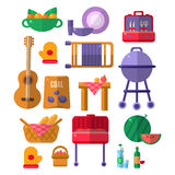 Things Needed For Barbeque Party. Picnic Outdoors Flat Vector Set Of Icons. Weekend Picnic In Nature Bright Color Set Isolated Objects stock illustration