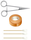 Things needed for first-aid. Illustration of the things needed for first-aid on a white background Stock Image