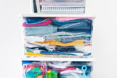 Things packed plastic container boxes tower. Moving house concept Order storage stack Copy space stock photos