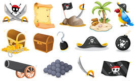 Things related to a pirate. Illustration of the things related to a pirate on a white background Royalty Free Stock Photography