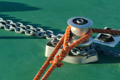 Things of  sail boats. Moored ropes in boat on harbor Royalty Free Stock Photo