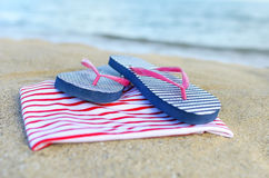Things are scattered on the beach. Royalty Free Stock Images