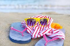 Things are scattered on the beach. Royalty Free Stock Photography