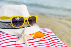 Things are scattered on the beach. Royalty Free Stock Photos