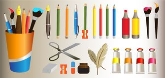 Things for school like pens brushes eraser stock illustration