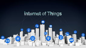 Things sensor icon on Smart city, connecting grid typo `INTERNET OF THINGS` white buildings. stock video footage