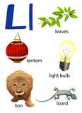 Things that start with the letter L. On a white background royalty free illustration