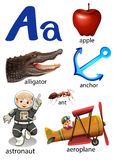 Things that start with the letter A. On a white background Stock Images