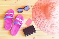 Things for summer holidays. Set of things for summer holidays on wooden background stock photos