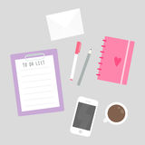 Things on the table. To do list, mobile phone, planner, stationery. Vector illustration Stock Photography