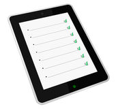 Things to do. One portable device with the screen that shows an empty list with a green check mark (3d render Stock Photo